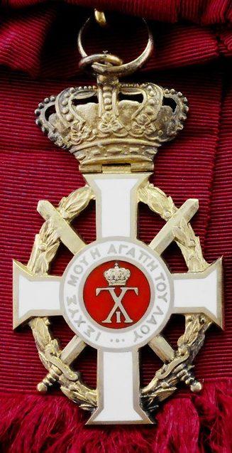 Большой крест Орден Георга I с мечами на ленте-перевязи.