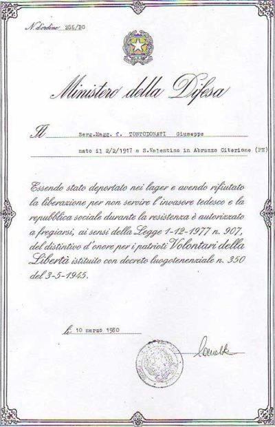 Свидетельство о награждении Почетным знаком «Добровольцы свободы».