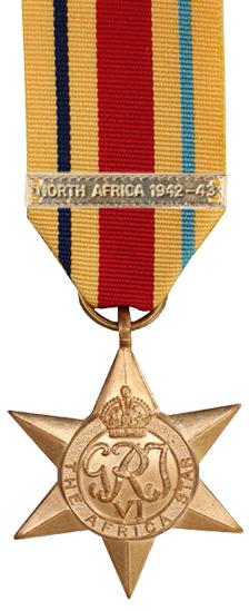 Медаль «Африканская звезда» с планкой «Северная Африка 1942-43».