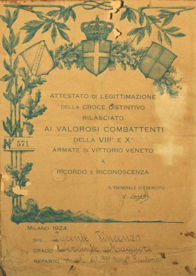 Диплом о вручении памятного креста 8-й и 10-й армий.