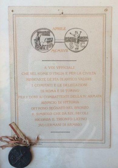Диплом о вручении памятного креста 4-й армии.