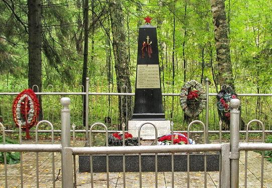 п. Вязы Выборгского р-на. Памятник установлен на братской могиле, в которой похоронено 6 советских воинов.