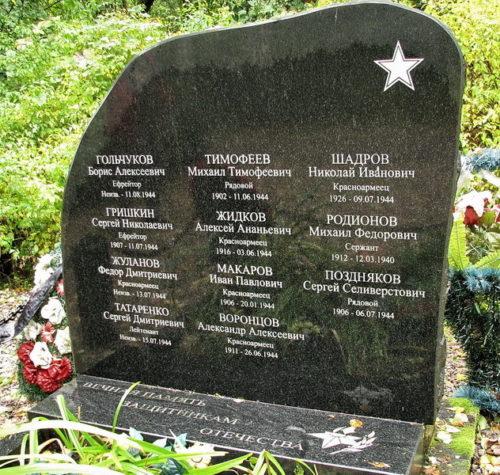 п. Вязы Выборгского р-на. Памятник установлен на братской могиле, в которой похоронено 11 советских воинов.