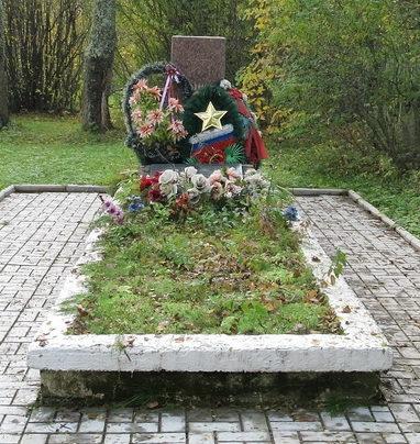 д. Колбеки Бокситогорского р-на. Памятник, установленный на братской могиле, в которой похоронено 26 советских воинов.