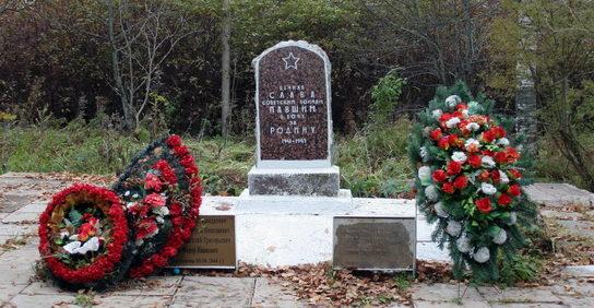 п. Новинка Гатчинского р-на. Памятник, установленный на братской могиле, где похоронено 25 советских воинов и партизан, в т.ч. 14 неизвестных.
