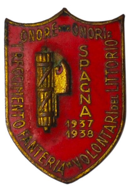 Аверс и реверс знака 1-го пехотного полка добровольческого дивизиона «Littorio» O.M.S в Испании.