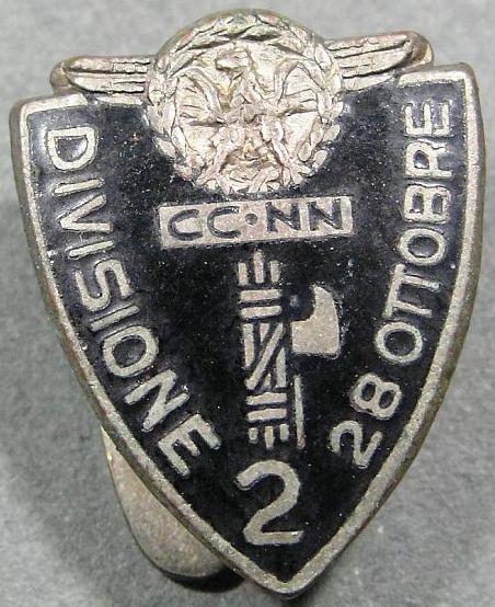 Аверс и реверс знака 2-й дивизии CC.NN. «28 октября».