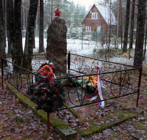 п. Заходское Выборгского р-на. Памятник на братской могиле советских воинов.