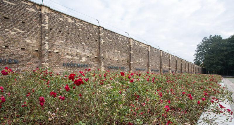 Стена Наций с братской могилой для 300 заключённых.