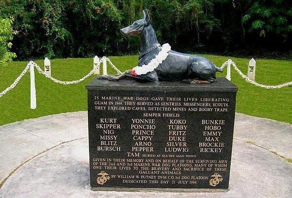 Памятник 25 погибшим доберманам-разведчикам морской пехоты на острове Гуам. США.