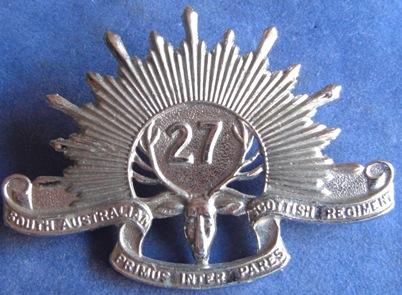 Знак на шляпу военнослужащих 27-го пехотного батальона.