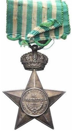 Звезда заслуг для местных вооруженных сил итальянских колоний (15 лет службы и исключительных заслуг).