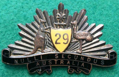 Знак на шляпу военнослужащих 29-го пехотного батальона.