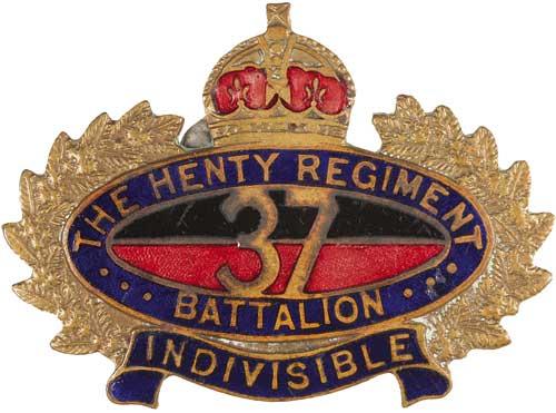 Знак на шляпу военнослужащих 37-го пехотного батальона.
