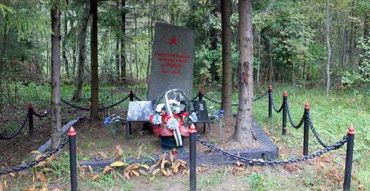 д. Митола Кировского р-на. Памятник, установленный на братской могиле, в которой похоронено 30 советских воинов, в т.ч. 7 неизвестных.