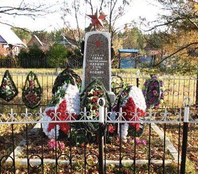 п. Чаща Гатчинского р-на. Памятник, установленный на братской могиле, в которой захоронено 15 советских воинов.