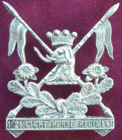 Знак на шляпу военнослужащих 1/ 21- го полка легкой кавалерии.
