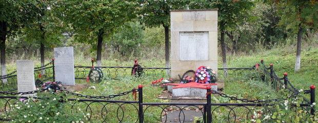 п. Алексеевка Кингисеппского р-на. Памятники, установленные на братских могилах, в которых захоронено 8 советских воинов, в т.ч. 4 неизвестных.
