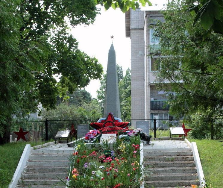 п. Поляны Выборгского р-на. Памятник, установленный на братской могиле, в которой похоронено 124 советских воина.