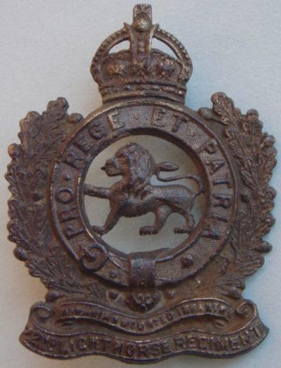 Знак на шляпу военнослужащих 22-го полка легкой кавалерии.