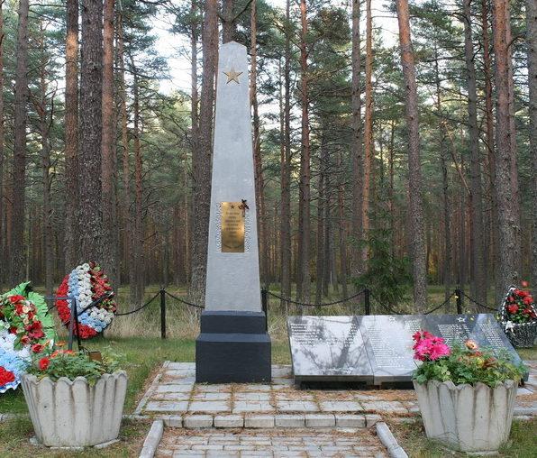 г. Приморск, Выборгского р-на. Памятник, установленный на братской могиле, в которой похоронено 49 советских воинов.