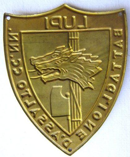 Аверс и реверс нарукавного щита штурмового батальона «Лупи».