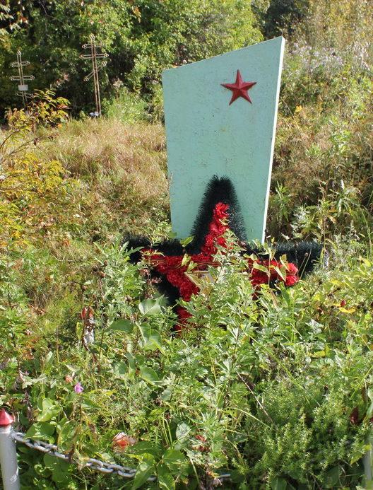 д. Заречье Волховского р-на. Братская могила советских воинов на кладбище.