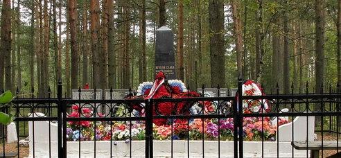 п. Рябово Выборгского р-на. Памятник, установленный на братской могиле, в которой похоронено 219 советских воинов, в т.ч. 20 неизвестных.