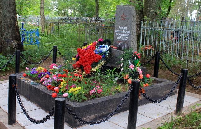 с. Колчаново Волховского р-на. Братская могила советских воинов на кладбище.