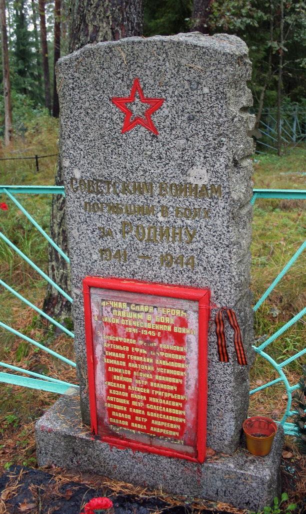 д. Вассакара Кингисеппского р-на. Памятник, установленный на братской могиле, в которой захоронено 20 советских воинов, в т.ч. 4 неизвестных.
