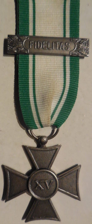 Аверс и реверс креста для военнослужащих Красного Креста за 15 лет службы.