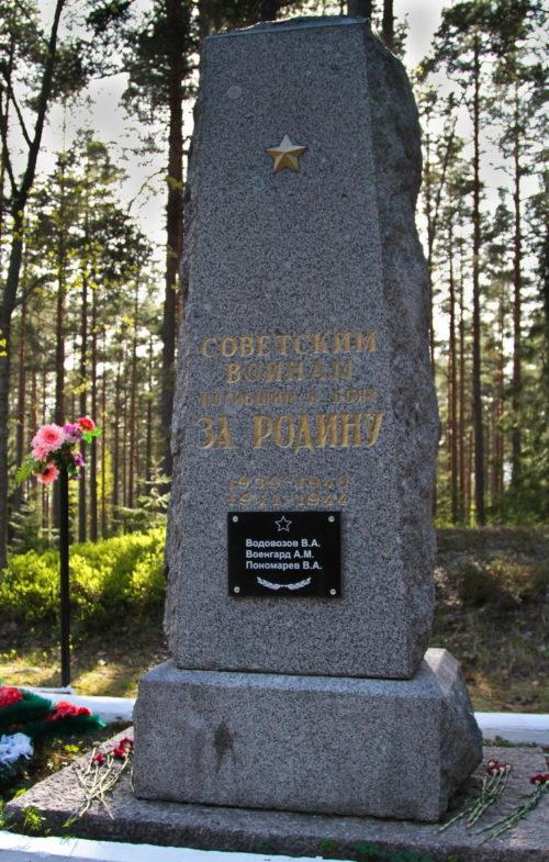 п. Семиозерье Выборгского р-на. Памятник, установленный на братской могиле советских воинов.