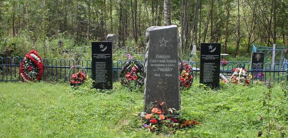с. Паша Волховского р-на. Памятники на братских могилах, где похоронено 25 советских воинов.