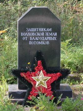 д. Прусынская Горка Волховского р-на. Братские могилы советских воинов на кладбище.
