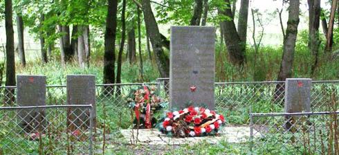 д. Кайболово Кингисеппского р-на. Памятник, установленный на братской могиле, в которой захоронено 50 советских воинов.