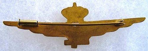Аверс и реверс знака военного летчика в золоте. Королевство.