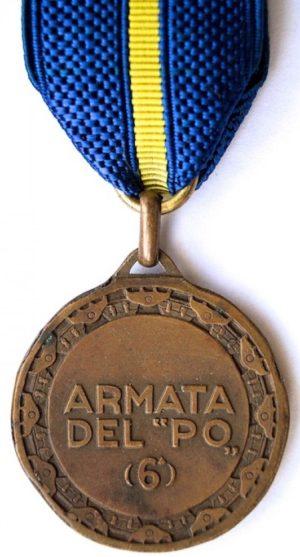 Аверс и реверс памятной медали 6-й армии «Armata del PO».