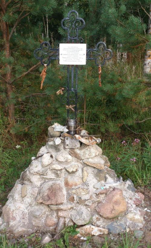 д. Сюрья Волховского р-на. Памятный знак на месте гибели экипажа бомбардировщика Пе-2.