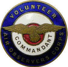 Аверс и реверс знака коменданта VAOC - добровольных воздушных наблюдателей.