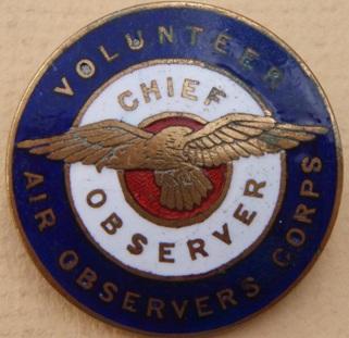 Аверс и реверс знака старшего наблюдателя VAOC - добровольных воздушных наблюдателей.
