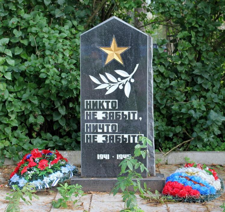 д. Усадище Волховского р-на. Памятник на кладбище, установлен на братской могиле советских воинов.