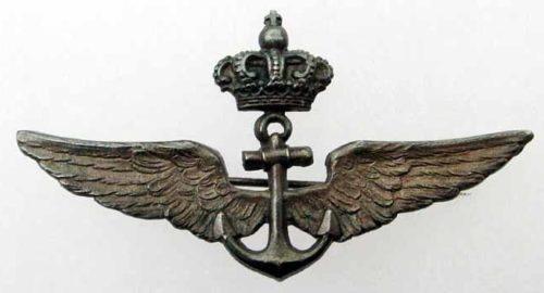 Аверс и реверс знака пилота аэростата в серебре. Королевство.