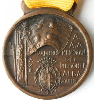 Аверс и реверс памятной медали регионального сбора артиллеристов. Пьемонт.1935 г. Медаль изготовлена из бронзы, диаметр – 30 мм.
