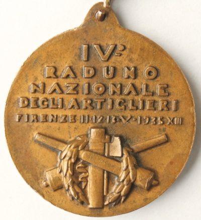 Аверс и реверс памятной медали 4-го артиллерийского сбора. Флоренция. 1935 год. Медаль изготовлена из бронзы, диаметр – 35 мм.