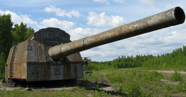 406-мм морская артустановка.