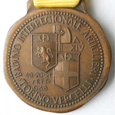 Аверс и реверс памятной медали сбора артиллеристов. Турин. 1936 г. Медаль изготовлена из бронзы, диаметр – 32 мм.