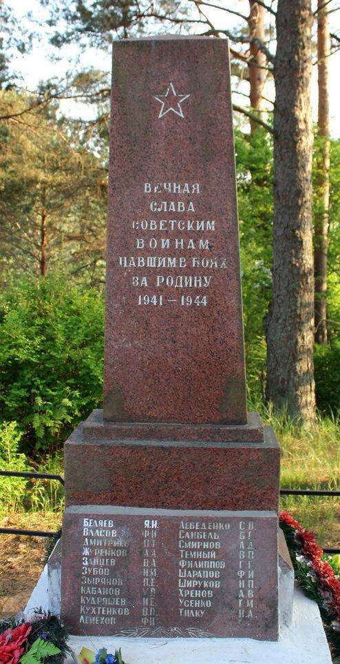 д. Лопотово Лодейнопольского р-на. Памятник, установленный на братской могиле, в которой захоронено 37 неизвестных советских воинов.