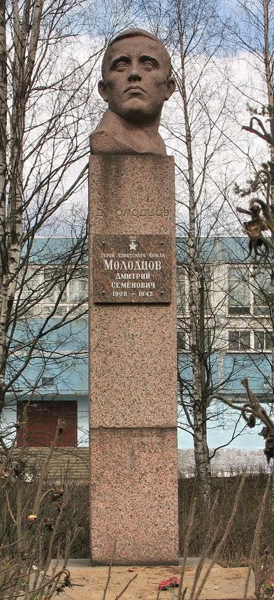 г. Сертолово Всеволожского р-на. Бюст Герою Советского Союза Молодцову Д. М., установленный в сквере перед школой №1.