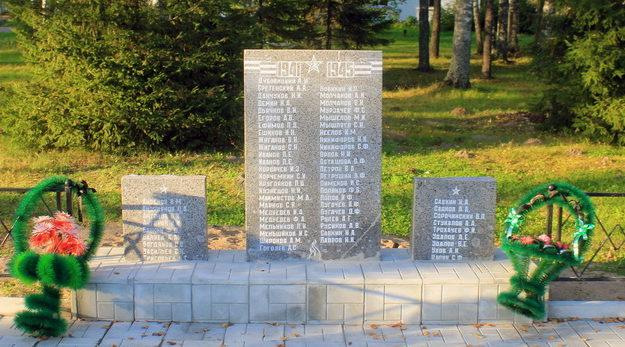 п. Свирьстрой Лодейнопольского р-на. Памятник погибшим землякам, на котором увековечено 64 человека.