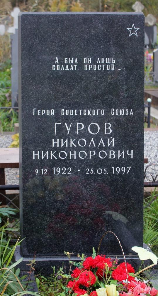 Памятник на могиле Героя Советского Союза Гурова Н. Н.
